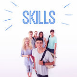 Skills against smiling students Stock Photos