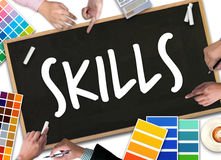 SKILLS Artist Creative Graphic Skills Designer Illustrator Level. Business and Education Stock Photography