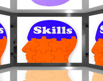 Skills On Brain On Screen Showing Human Competences Royalty Free Stock Images