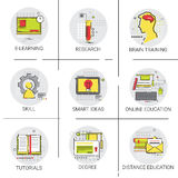 SKills Brain Training Online Learning Distance Education Set Icon Stock Photography