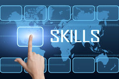 Skills. Concept with interface and world map on blue background Royalty Free Stock Image