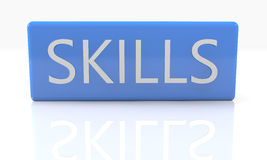Skills. 3d render blue box with text Skills on it on white background with reflection Stock Images