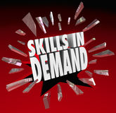 Skills in Demand 3D Words Needed Experience. Skills in Demand 3d words breaking through glass to illustrate a skillset, experience or education that is needed by Royalty Free Stock Photos