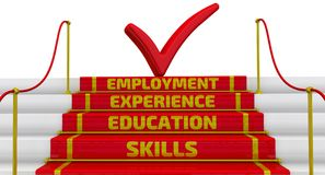 Skills, education, experience, employment. The inscription on the steps. The inscription SKILLS, EDUCATION, EXPERIENCE, EMPLOYMENT on the steps of stairs with a vector illustration