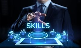 Skills Education Learning Personal development Competency Business concept. stock images