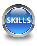 Skills glossy blue round button Stock Images