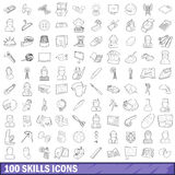 100 skills icons set, outline style. 100 skills icons set in outline style for any design vector illustration Royalty Free Stock Photos