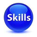 Skills glassy blue round button Stock Images