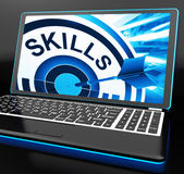 Skills On Laptop Shows Great Abilities. And Talents Royalty Free Stock Image