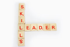Skills and Leader. In a scrable block game Stock Photography