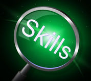 Skills Magnifier Represents Expertise Ability And Skilful Stock Photo