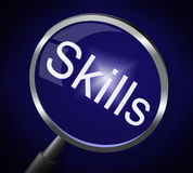 Skills Magnifier Represents Skilled Expertise And Aptitude Royalty Free Stock Photo