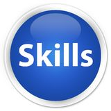 Skills premium blue round button. Skills isolated on premium blue round button abstract illustration Stock Photos