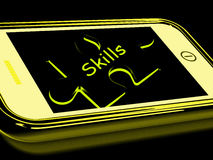 Skills Smartphone Means Knowledge Abilities. Skills Smartphone Meaning Knowledge Abilities And Competency Stock Image