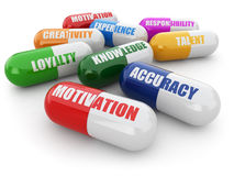 Skills for success. Pills with a list of positive qualities for Stock Images