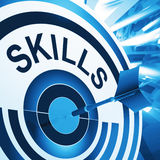 Skills Target Means Aptitude, Competence And Abilities Stock Photos
