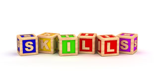 Skills Text Cube Stock Images