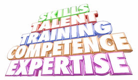 Skills Training Experience Expertise Words Royalty Free Stock Image