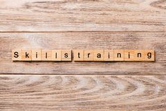 Skills training word written on wood block. skills training text on wooden table for your desing, concept.  royalty free stock images