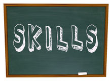 Skills Word on Chalkboard Learn New Things in School. Learn New Skills Word on Chalkboard encouragement to take training course to improve yourself and succeed Royalty Free Stock Photo