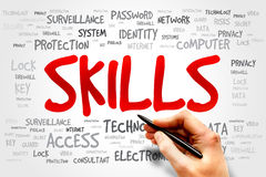 Skills. Word cloud, business concept stock photos