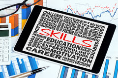 Skills word cloud concept. On tablet pc Royalty Free Stock Photos