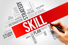 Skills. Word cloud, education concept stock photo