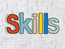 Skills Word Concepts On White Brickwall Royalty Free Stock Image