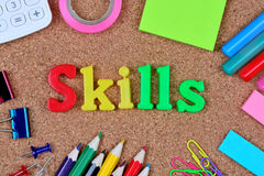 Skills word on cork board royalty free stock image