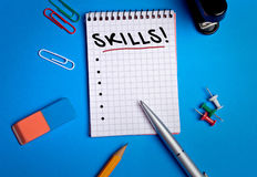 Skills word on notebook Stock Photography