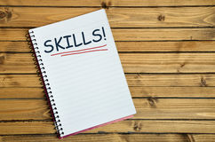 Skills word on notebook. Skills word writing on notebook Stock Image