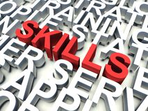 Skills. Word Skills in red, salient among other related keywords concept in white. 3d render illustration Royalty Free Stock Photography