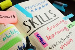 Skills written in a note. Knowledge and competence. Skills written in a note. Knowledge and competence concept stock photo
