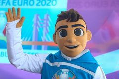 Skillzy, the official mascot for the Euro 2020 football tournament, is seen during a presentation at the National Arena Stadium. Bucharest, Romania - May 24 royalty free stock photography