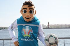 Skillzy, the official mascot for UEFA EURO 2020, in Saint Petersburg, Russia stock images