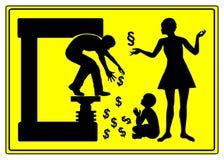 Skilsmässa och underhåll stock illustrationer