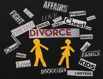 Skilsmässameddelanden Fotografering för Bildbyråer
