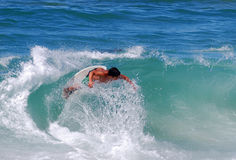 Skim boarder at Brooks Street Beach, Laguna Beach, CA Stock Image