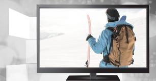 Skimann im Fernsehen Stockfotos