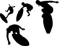 Skimboard Set 01. A collection of silhouettes of surfers performing acrobatic tricks on a skimboard Royalty Free Stock Photos
