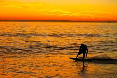 Skimboarder. The sun starting to set on Balboa Pier in Newport Beach in California with a young skimboarder is enjoying wave Royalty Free Stock Photo
