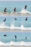 Skimboarding jump sequence. Picture of a man skimboarding ang jumping. With model release Royalty Free Stock Photography
