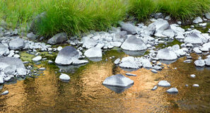 Skimrande reflexioner John Day River Rocks Riverbed Arkivbild