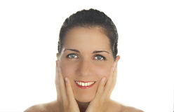 SKIN AND BEAUTY CARE - YOUNG BEAUTIFUL FEMALE Stock Photography