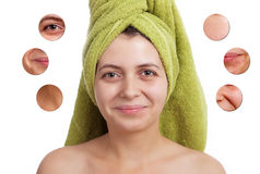 Skin beauty concept  -Closeup on women's isolated face Stock Images