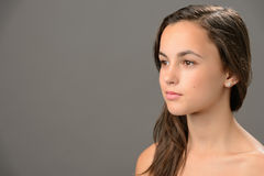 Skin beauty teenage girl brunette looking away Stock Photography