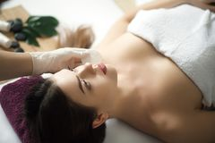 Skin And Body Care. Close-up Of A Young Woman Getting Spa Treatment At Beauty Salon. Spa Face Massage. Facial Beauty Treatment. S stock photos