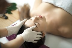 Skin And Body Care. Close-up Of A Young Woman Getting Spa Treatment At Beauty Salon. Spa Face Massage. Facial Beauty Treatment. S royalty free stock photography