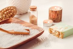 Skin and body care or Spa attributes on table. Healthcare concept.  royalty free stock photography