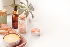 Skin and body care or Spa attributes on table. Healthcare concept.  royalty free stock photo